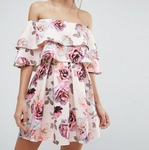 ASOS - Double Ruffle Bardot Mini Skater Dress